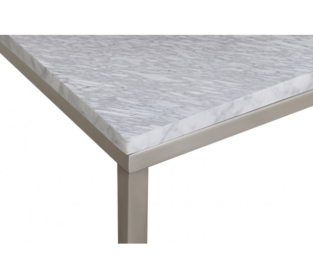 Brushed Gold White Marble Rectangular Coffee Table: Signet Coffee Table In White Marble And Brushed Nickel
