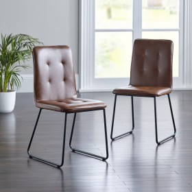 Kasari Dining Chair - Tan with Black Legs (Pair)