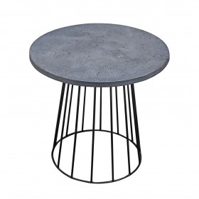 Grona Round Lamp Table - Grey & Black