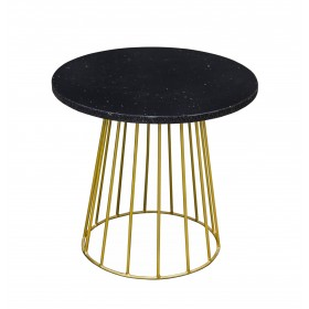 Grona Round Lamp Table - Black & Gold