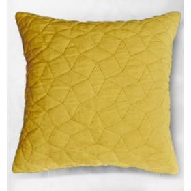 Simo Quilted Velvet Cushion - Ochre