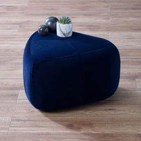 Laan Small Velvet Footstool - Midnight Blue