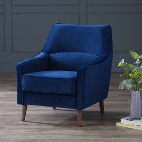 Harkan Velvet Armchair - Midnight Blue