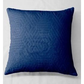 Kemi Quilted Velvet Cushion - Navy Blue