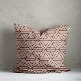 Kala Geo Print Cushion - Blush Pink