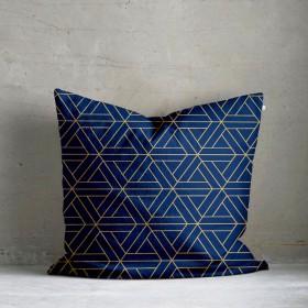 Kala Geo Print Cushion - Navy Blue