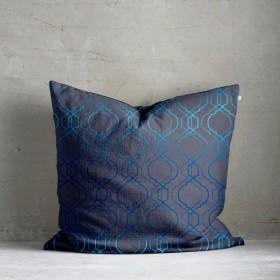 Vasko Metallic Print Cushion - Navy Blue