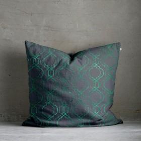 Vasko Metallic Print Cushion - Green