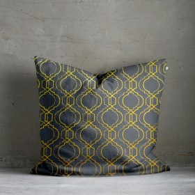 Vasko Metallic Print Cushion - Ochre