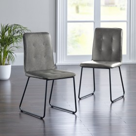 Kasari Dining Chair - Grey with Black Legs (Pair)