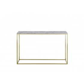 Signet Console Table  in White Marble and Gold