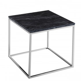 Signet Lamp Table in Black Marble/and Chrome