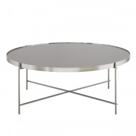 Oakland Brushed Nickel Round Coffee Table