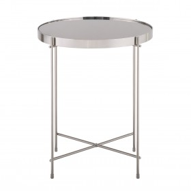Oakland Brushed Nickel Round Lamp Table