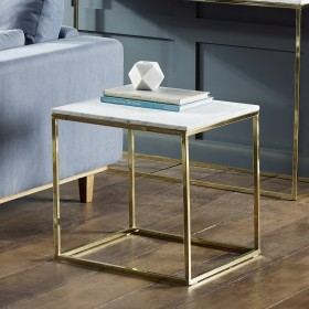Signet Lamp Table in White Marble and Gold