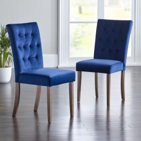 Slyan Dining Chairs - Dark Legs - MIDNIGHT BLUE