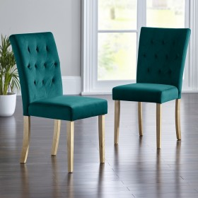Slyan Dining Chairs - Oak Legs - TEAL - Pair of Chairs