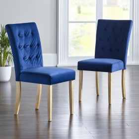 Slyan Dining Chair - Oak Legs - MIDNIGHT BLUE