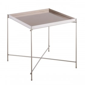 Oakland Brushed Nickel Square Lamp Table